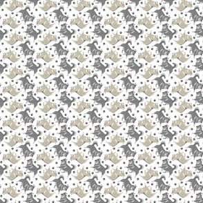 Trotting Swedish Vallhund and paw prints - tiny white