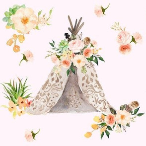"8"" Floral Aztec Teepee in  Pink"