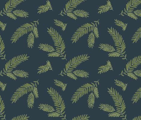 Pine Sprig - Ivy, Navy fabric by fernlesliestudio on Spoonflower - custom fabric