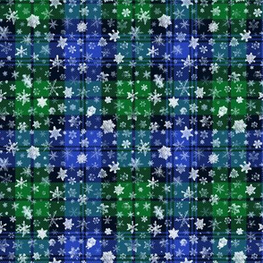 small snowflakes on the Campbell tartan