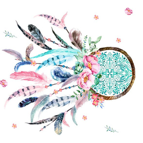 Pink & Aqua Dream Catcher Fat Quarter