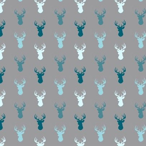 Tiny Deer- Winslow - teal, blue, grey small deer heads