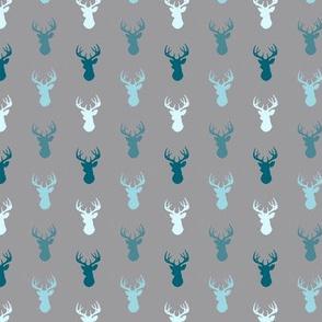 Tiny Deer- Winslow - teal, blue, grey small deer heads