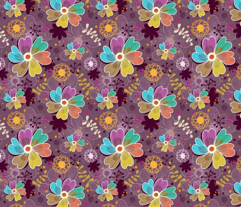 Happiness Floral fabric by floramoon on Spoonflower - custom fabric