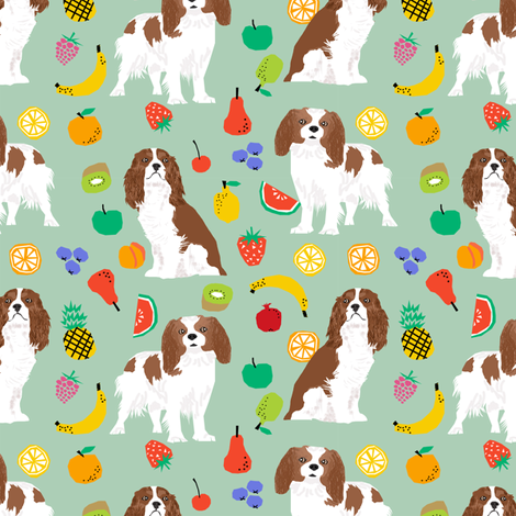 cavalier king charles spaniel, spaniel dog fabric fruits dog love fabric fabric by petfriendly on Spoonflower - custom fabric