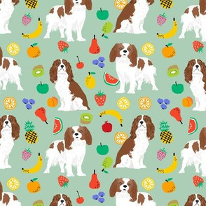 cavalier king charles spaniel, spaniel dog fabric fruits dog love fabric