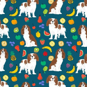 cavalier king charles spaniel, spaniel dog fabric fruits dog love fabric
