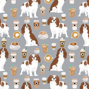cavalier king charles spaniel coffee fabric spaniel dog fabric dogs fabric