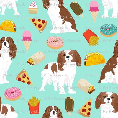 cavalier king charles spaniel fabric junk food design fries donuts fabric spaniel dogs fabric