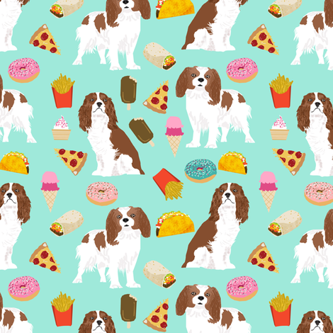 cavalier king charles spaniel fabric junk food design fries donuts fabric spaniel dogs fabric fabric by petfriendly on Spoonflower - custom fabric