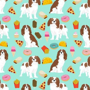 cavalier king charles spaniel fabric junk food design fries donuts fabric spaniel dogs fabric