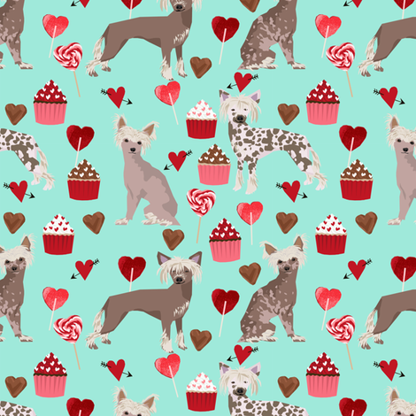 chinese crested dog love fabric cute valentines cupcakes design fabric by petfriendly on Spoonflower - custom fabric