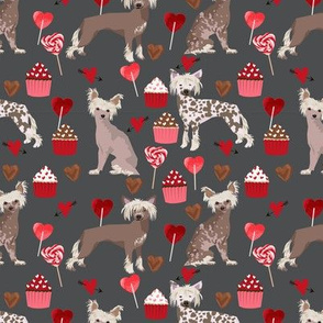 chinese crested dog love fabric cute valentines cupcakes design