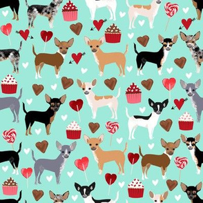 chihuahua love fabric valentines cute cupcakes chihuahua fabrics cute dogs design