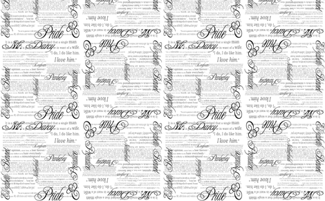 Pride & Prejudice Text (Bi-Directional White) fabric by esheepdesigns on Spoonflower - custom fabric