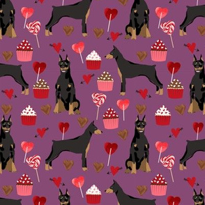 doberman fabric valentines love design cute cupcakes and sweets valentines dog fabric