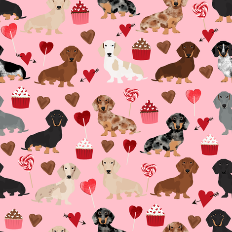 Doxie Love Valentines Fabric Cute Love Design Best Cupcakes And