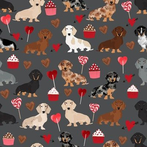 doxie love valentines fabric cute love design best cupcakes and sweets dachshund valentines fabric