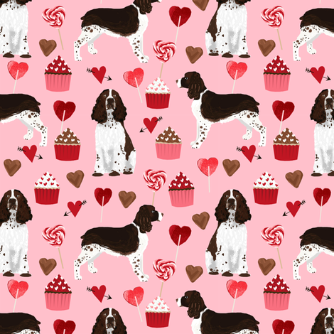 english springer spaniel dog love fabric best valentines cute cupcakes dog design fabric by petfriendly on Spoonflower - custom fabric