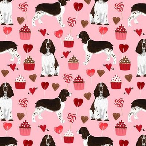 english springer spaniel dog love fabric best valentines cute cupcakes dog design