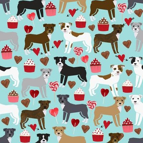 pitbull terriers dog love fabric cute valentines cupcakes and hearts fabric design