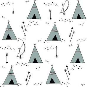 teepees__bows___arrows__stoney_teal