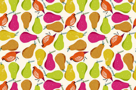 partridges and pears fabric by wingmade on Spoonflower - custom fabric