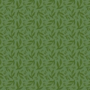 Watercolor Small Dark Green Leaves
