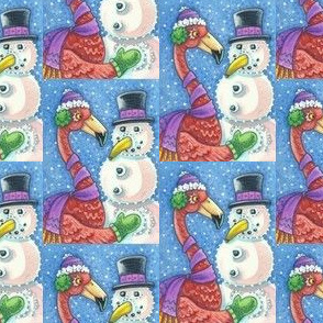 Pink Flamingo and Snowman
