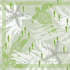 Sea Turtles & Kelp Linen Towel in Pantone Green & Gray