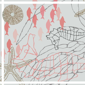 Seahorses and Kelp Tea towel in Coral & Gray Tones