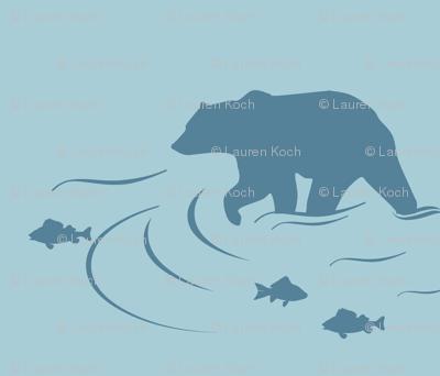 Wading bear in Coastal blue on Glacier water