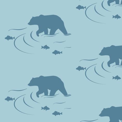 Wading bear in Coastal blue on Glacier water fabric by buckwoodsdesignco on Spoonflower - custom fabric