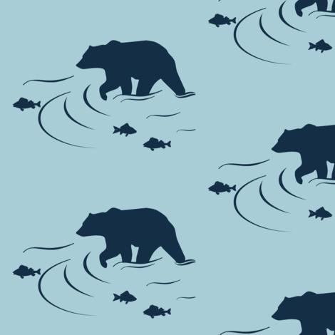 Wading bear Navy on Glacier water fabric by buckwoodsdesignco on Spoonflower - custom fabric
