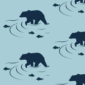 Wading bear Navy on Glacier water