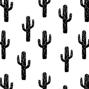 cactus linocut // block print cactus fabric desert black and white tropical fabric