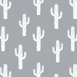 cacuts // grey cacti fabric baby nursery linocut block print andrea lauren baby fabric