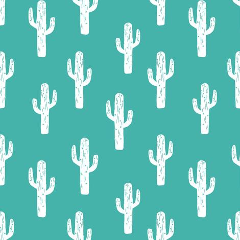 cactus // linocut andrea lauren block print turquoise fabric cactus baby nursery design fabric by andrea_lauren on Spoonflower - custom fabric