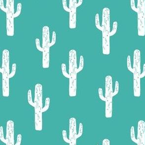 cactus // linocut andrea lauren block print turquoise fabric cactus baby nursery design