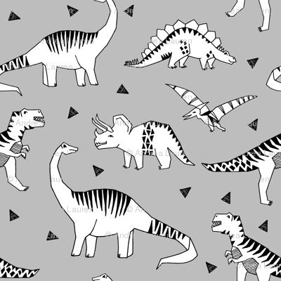 Dinosaur dinos fabric grey dinosaurs fabric andrea for Grey dinosaur fabric