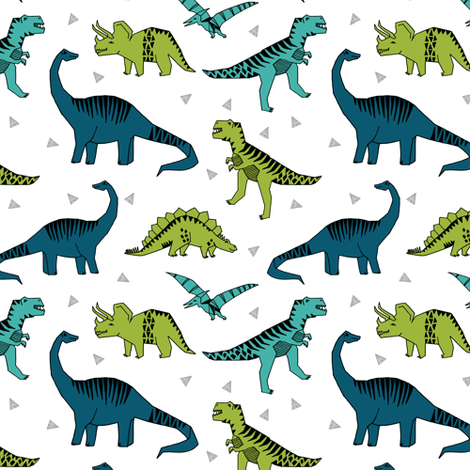 dinosaurs // green blue dino fabric andrea lauren baby design dinosaurs andrea lauren fabric nursery baby design fabric by andrea_lauren on Spoonflower - custom fabric