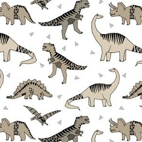 dinosaurs // grey neutral khaki dino fabric andrea lauren design