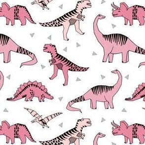 dinosaur // pink dinos fabric t-rex jurassic stegosaurus pink dinos fabric