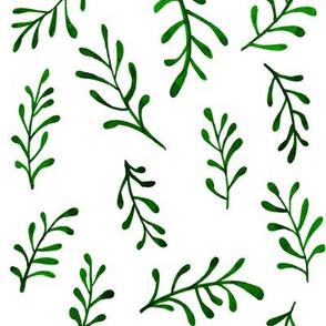 Green Fern Scatter Pattern Watercolor