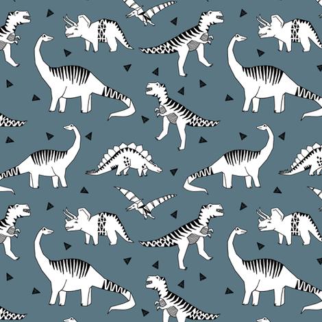 dinosaur // blue grey dinosaur fabric baby nursery baby boy design andrea lauren fabric  fabric by andrea_lauren on Spoonflower - custom fabric