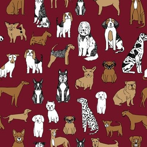 dog // dogs maroon fabric dog design andrea lauren fabric baby pets fabric