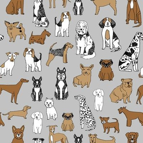 dogs // grey dog fabric dog design andrea lauren fabric