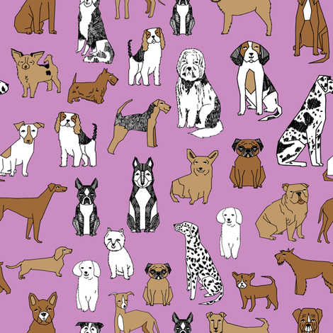 dog // dogs purple pastel dog fabric dog breeds fabric  fabric by andrea_lauren on Spoonflower - custom fabric