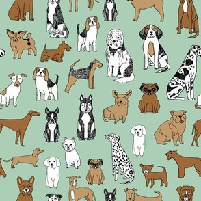 dog // dogs fabric mint green dog design dog breeds illustration dog fabric
