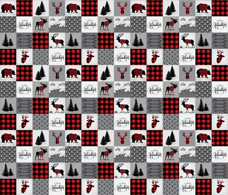 Buffalo plaid patchwork faux quilt - 12 inch repeat  fabric by howjoyful on Spoonflower - custom fabric